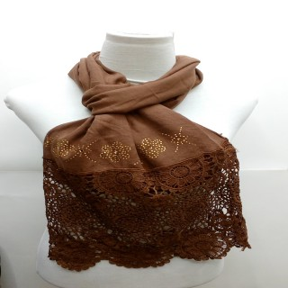Premium Half Net Diamond Stole-Dark Brown